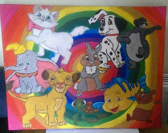 Hand painted one of a kind disney animals canvas