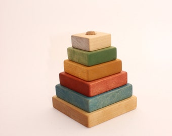 Wooden pyramid | Square stacking toy | Coloured | Learning toy | Montessori toys