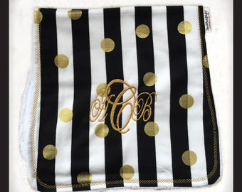 Baby Burp Cloth, Burp Cloth, Personalized Burp Cloth, Black and gold burp cloth