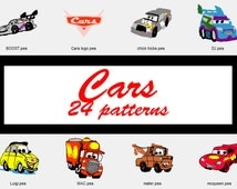 Cars Machine Embroidery Patterns, 4 Inch Hoop Design, Pattern Pack, Disney Pattern, Lightning McQueen, Mater Truck Patch, Instant Download