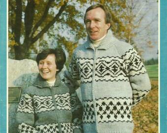 Knitting Pattern Cowichan Siwash Design, Adult Jacket Indian Graph  SKEENA Sz 34 - 44 #376