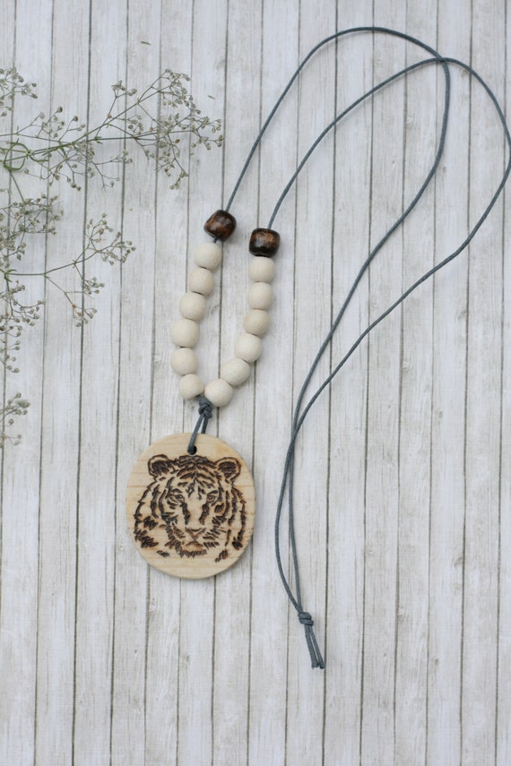 tiger wooden pendant wood burning made by