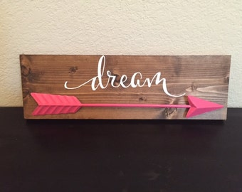 Dream (or name) with pink arrow