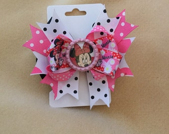 """Pink Minnie Mouse 4"""" hair bow"""