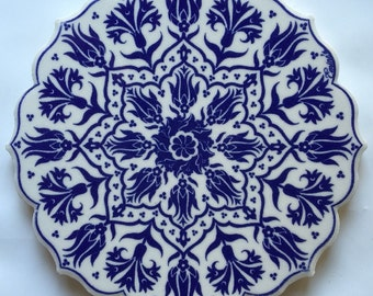 Trivet Turkish Ceramic Star-Shaped Tile Kitchen Hot Plate - Traditional Ottoman Blue and White Tulip Flowers Floral Design