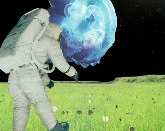 Spaceman Collage Print