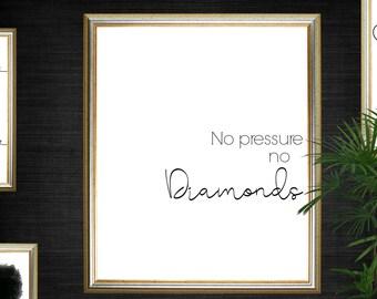 No Pressure No Diamonds Motivational Beauty Print - Instant Download