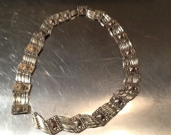 "Vintage ""wow"" Sterling Aztec pyramid belt"