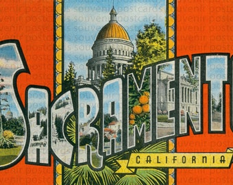 Sacramento, Sacramento Postcard, State Capital, State Capital Postcard, Sacramento Souvenir, Sacramento California, Sacramento Art