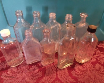 Lot of 10 Vintage Glass Bottles, 1900's, (# 914/54)
