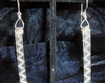Sterling Silver Wire Weaved Earrings