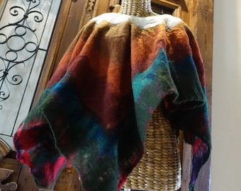 nuno felted poncho, etnic, wearable art poncho, handmade, art to wear, design , original project