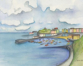 Giclee Print of an Orignal Watercolour Painting. Tenby, Pembrokeshire.