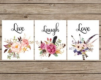 Live Laugh Love Printable, Laugh Print, Floral Live Laugh Love, Wedding Gift, Live Laugh Sign, Master Bedroom Wall Art, Set of 3 Prints