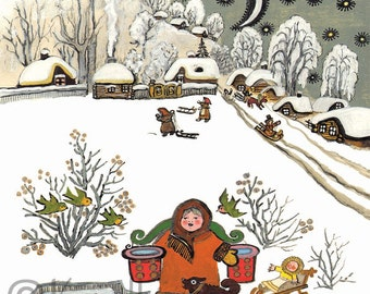 Girl Fetching Water Christmas card