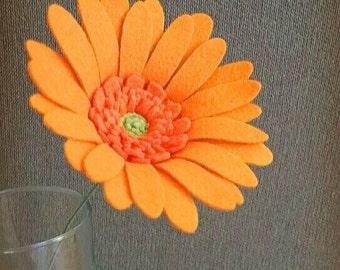 Single Stem Felt Gerbera Daisy / Handmade
