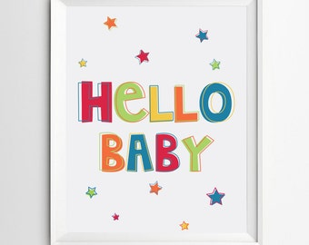 Hello Baby Nursery Print - colorful nursery art - hello baby print - Printable Nursery Art - Instant Download