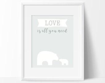 Nursery Polar bear poster, Love is all you need printable, Woodland nursery wall art, Baby's room Scandinavian decor, Polar bear poster