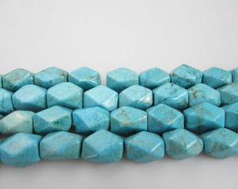 Blue Turquoise Gemstone Faceted Nugget 14x20mm 15.5 Inch per Strand.I-TUR-0118
