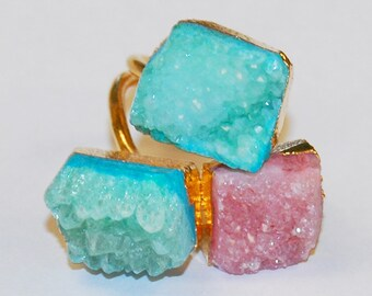 Beautiful Drusy Agate Adjustable Size 18k Yellow Gold Plated Finger Ring