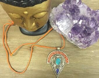 Multi-colored stone pendant