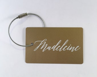 Luggage Tag -  (6 Tags) Gold and White Personalized luggage tags