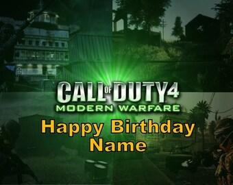 Call of Duty Modern Warfare 4 Edible Image Cake Topper Personalized Birthday 1/4 Sheet