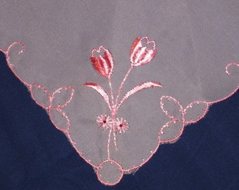 Vintage White & Pink Sheer Embroidered Handkerchief