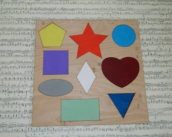 Wooden puzzle Geometric Shapes_wooden geometric puzzle_gift for kids_plywood puzzle_preschool figures_learning puzzle_educational game