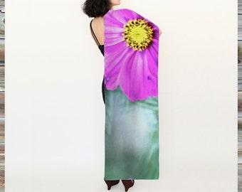 pink flower long scarf