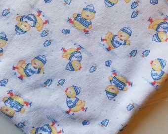 Interlock-Knit-Winter-Snow-Chicks-Yellow-Blue-Fabric-By-The-Yard-Kaufman-Kids-Baby-Dads-Fashion-Apparel -Sewing-DIY-Crafts-Supplies