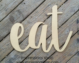eat wooden cutout