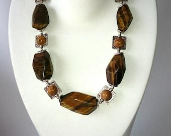 Brown necklace, short necklace, Natural Tigereye, Picture Jasper, semiprecious stones, unique Minbijou necklace, OOAK