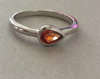 Orange Sapphire Stamped Sterling Silver Stackable Ring