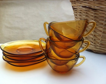 Set of 5 gold cups Vereco 70s