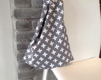 folding tote bag, reusable tote bag, market bag, shopping bag, gray cotton bag with geometric cross