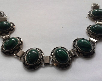 Silver Bracelets 925 with stone hand made malahite