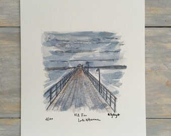 Old Pier - Late Afternoon - Watercolour Print