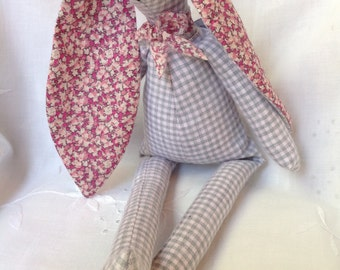 Rag bunny. Miss Dorothy.  Handmade soft toy. Liberty cotton. Gift. Newborn. Celebration.