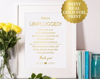 Unplugged Ceremony Sign, Gold Foil Unplugged Wedding Sign, Unplugged Sign For Wedding, Unplugged Poster, No Cell Phone Sign 8x10 5x7 4x6