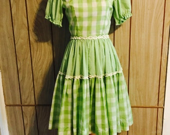 Vintage 60's green checkered circle skirt western square dance dress - s