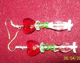 Bling sparkling heart earrings