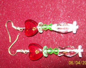 Romantic sparkling heart earrings