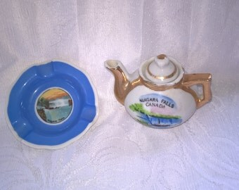 vintage niagara falls teapot and ashtray set