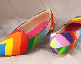 Rainbow Flats Painted Shoes