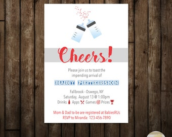 Baby Shower BBQ, Co Ed Shower, Cheers Baby Shower Party Invitation, Gender  Reveal