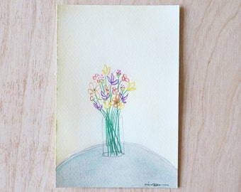 Floral Postcard - Hand Painted