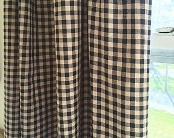 Black and cream gingham curtains