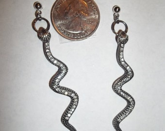 Black Rhinestone Snake Earrings