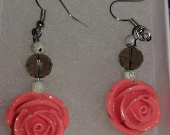 Rose with brown beads
